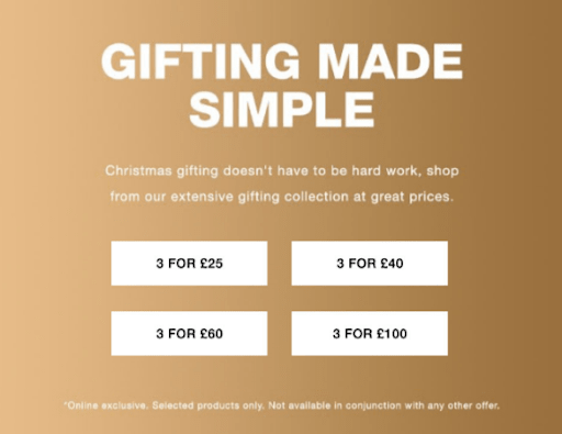 Example holiday marketing using discounted gift guide from Superdrug