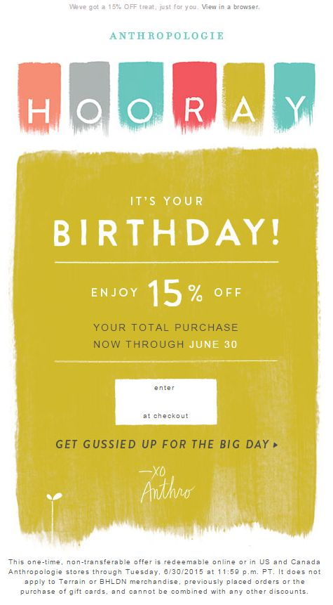 Example of an automated Birthday email by brand Anthropologie