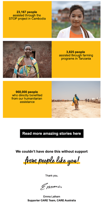 Example of a thank you email to donors by the charity CARE sharing real stories