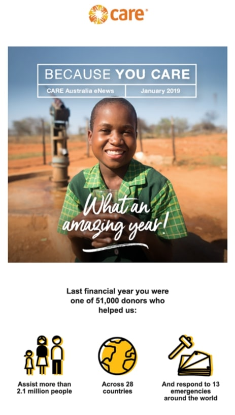 Example of an email to supporters by the charity CARE that uses statistics to show impact