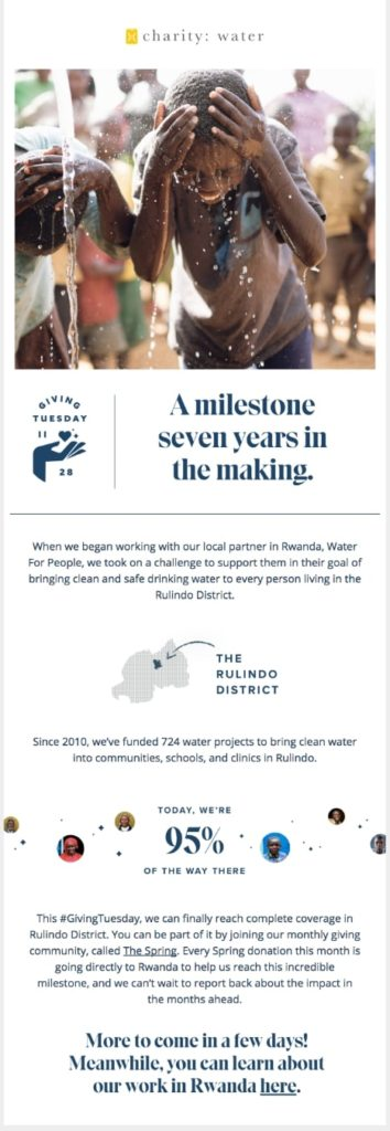 Giving Tuesday email announcement by charity: water