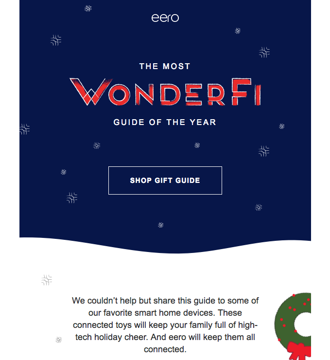 """Christmas gift guide email that uses the slogan """"The Most WonderFi Guide"""" in its email subject line"""