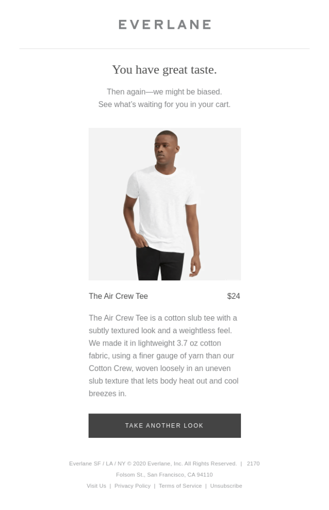 Example of an abandoned cart email by clothing retailer Everlane