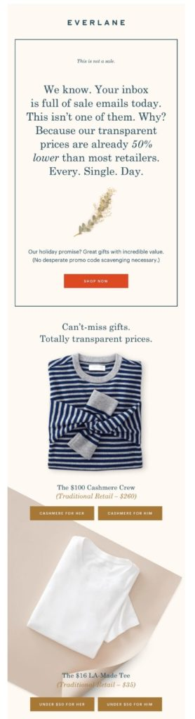 Cyber Monday email by Everlane with gift recommendations and item prices compared to other retailers