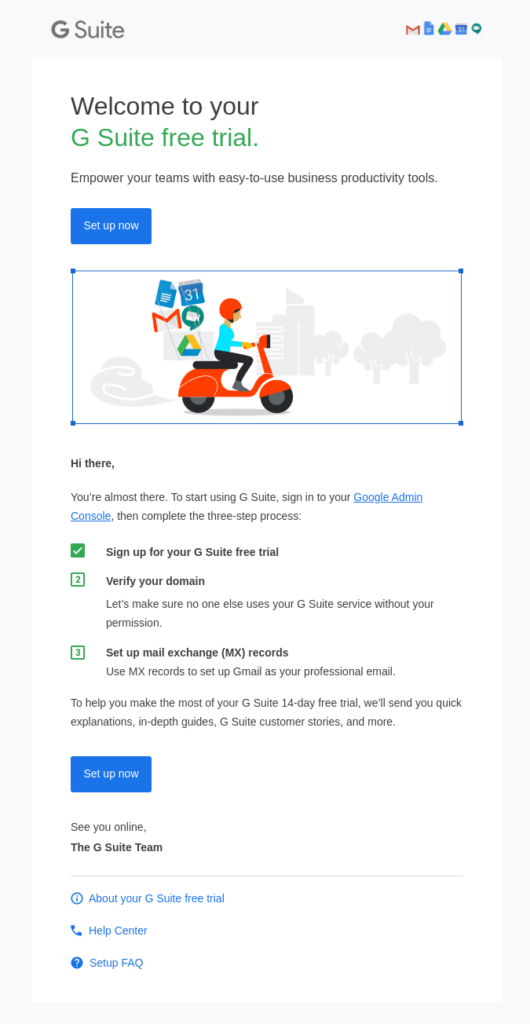 Example of an email from an automated onboarding series for G Suite that guides users through the setup process