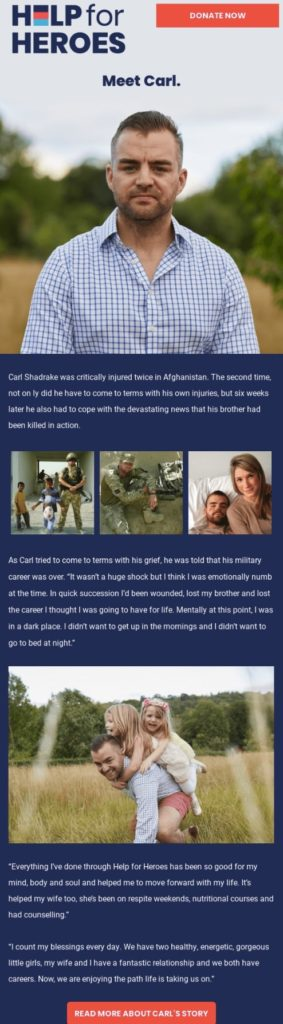 Example of a charity email by Help for Heroes that uses storytelling