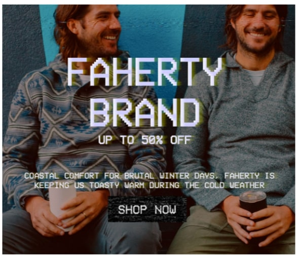 Screenshot of a block from Huckberry's Cyber Monday email that uses images and copy to showcaseing product benefits