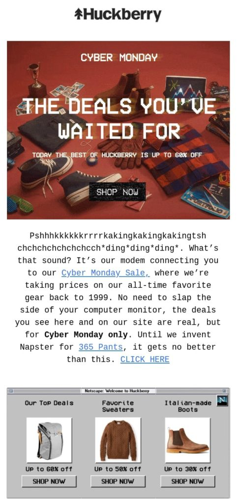 Huckberry's Cyber Monday email campaign with a nostalgia-themed design