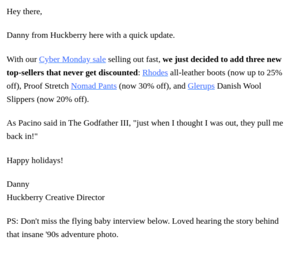 Plain text Cyber Monday email by Huckberry to promote their last-minute discounts