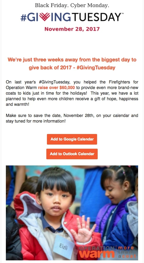 "Giving Tuesday email example by Operation Warm with a ""save the date"" CTA"