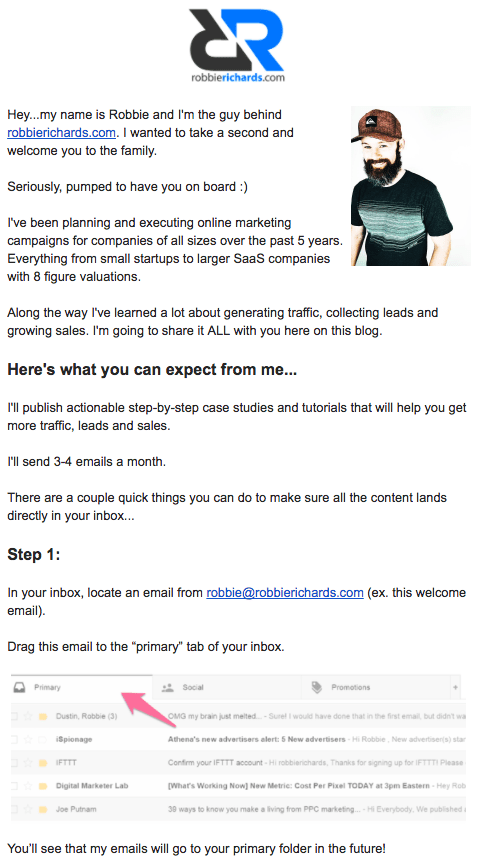 Example of an automated welcome email for the Robbie Richards marketing blog newsletter