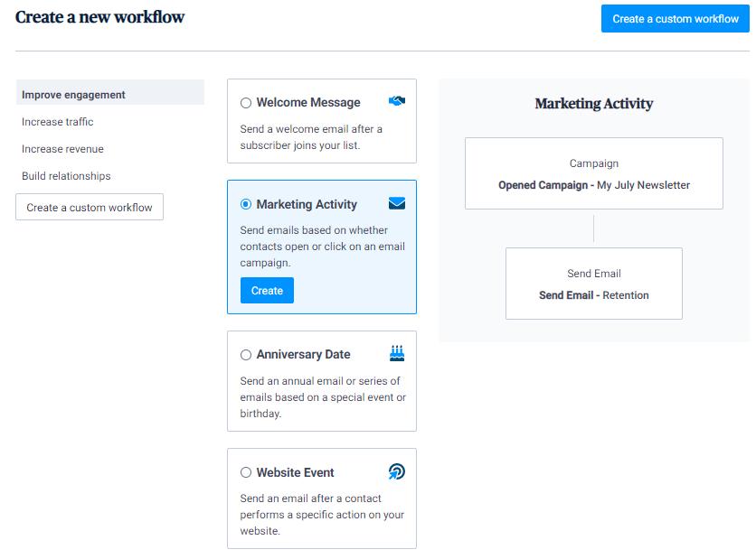 Marketing automation workflow templates on the Sendinblue platform