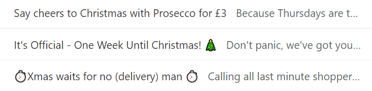 Screenshot of an inbox with holiday email subject lines and preview texts