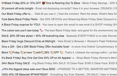 Screenshot of an inbox showing Black Friday emails and their subject lines