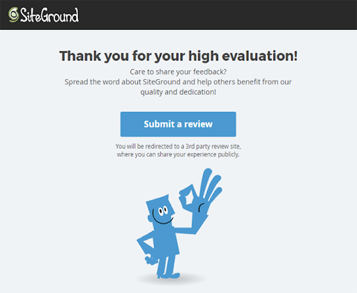 Example of an automated review request by company SiteGround