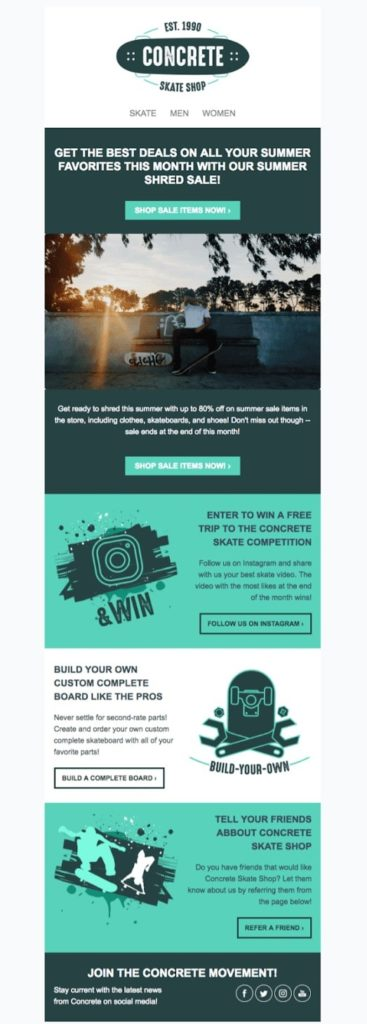 Newsletter template for an online skateboard shop promoting a summer sale
