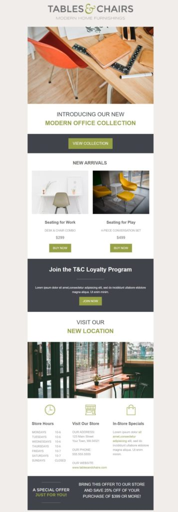 Template for a retail newsletter, including store information and offers