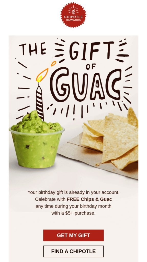Example of a birthday email campaign by the restaurant Chipotle