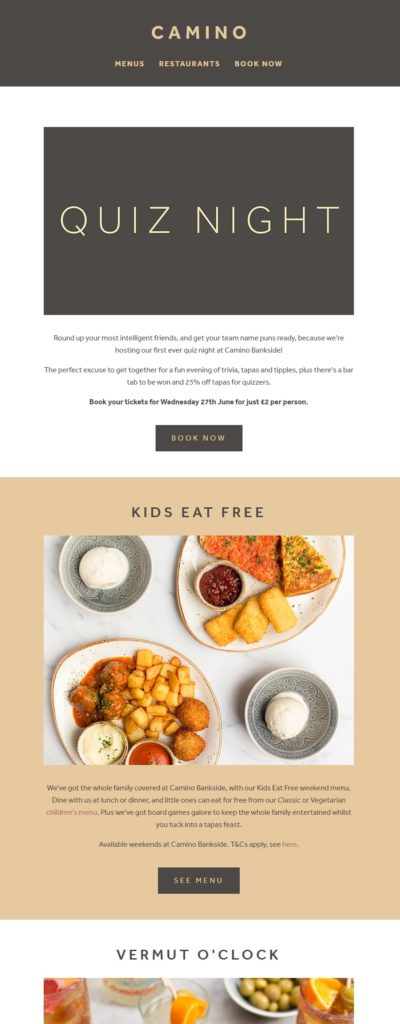 Example email marketing newsletter from the restaurant Camino