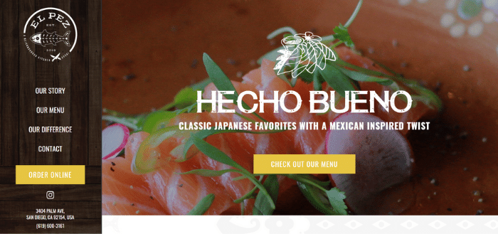 Example website homepage from the restaurant El Pez