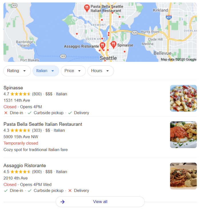"""Google's local search pack for the query """"Italian restaurant Seattle"""""""