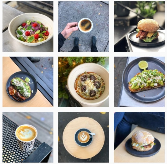 Photo grid from the Instagram profile of the cafe Sweatshop Coffee