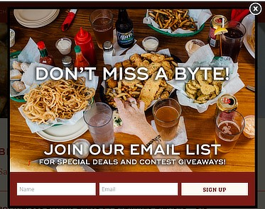 Example of a website popup to promote email signups by the restaurant Mahony's