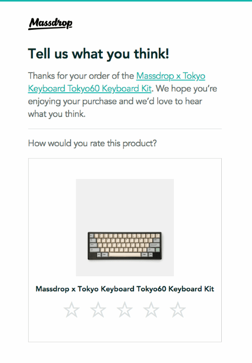 Email by Massdrop that uses interactive star rating buttons