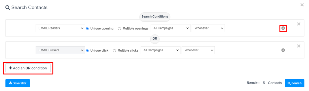 Adding multiple conditions to a search filter