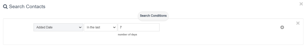 "A search filter with the condition ""added date"" in the last 7 days"