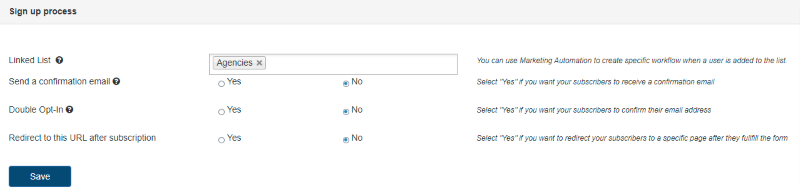 Signup process options in the Sendinblue WordPress form builder