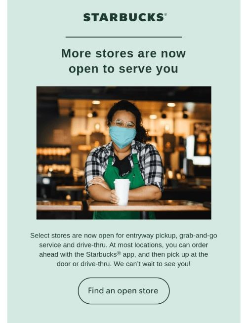 Campaign by Starbucks showing the trend of using email to increase store visits