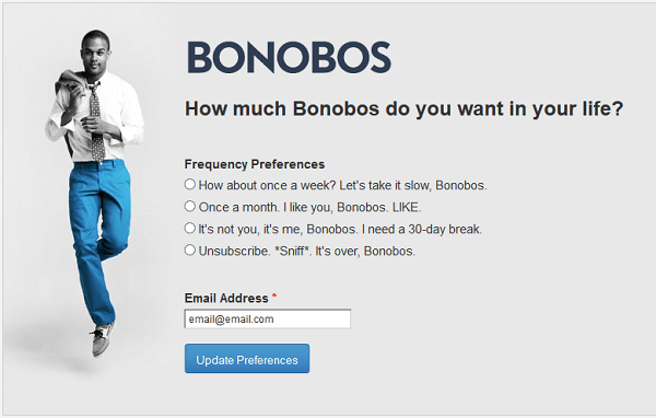 Example of a subscriber preference form by Bonobos for segmentation by email frequency