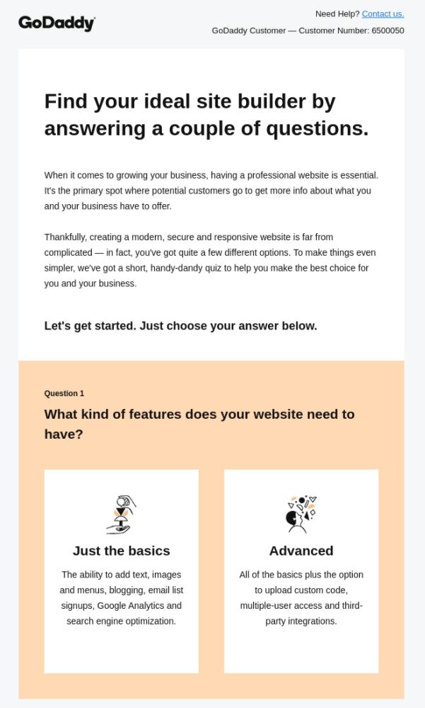 GoDaady email example