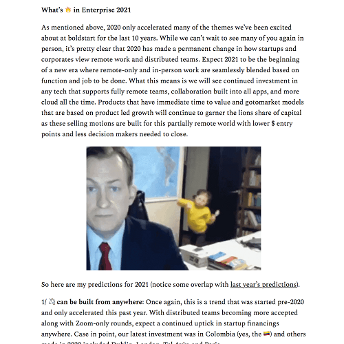 Excerpt from What's Hot in Enterprise newsletter