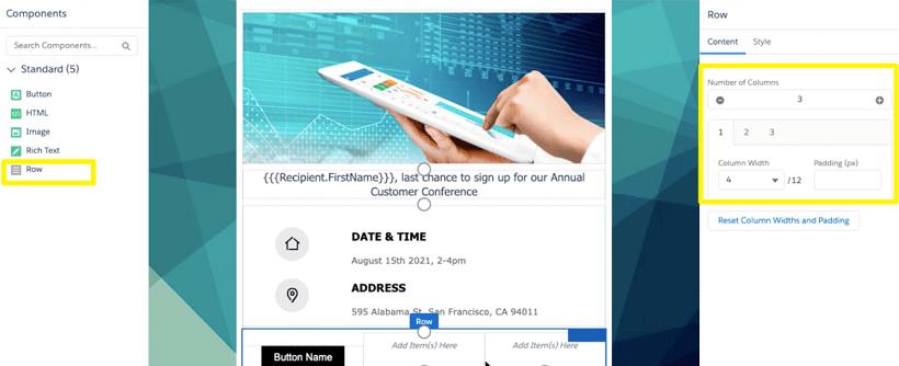 Screenshot of Pardot email editor