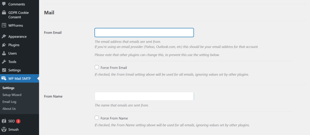 View of WP Mail SMTP settings in WordPress