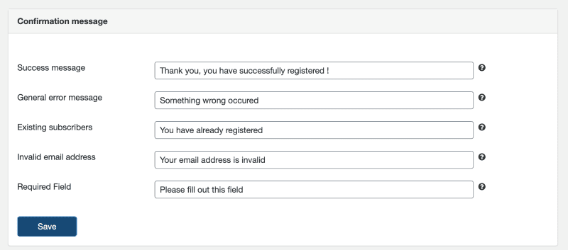 Setting the confirmation messages for newsletter signups in the Sendinblue WordPress form builder