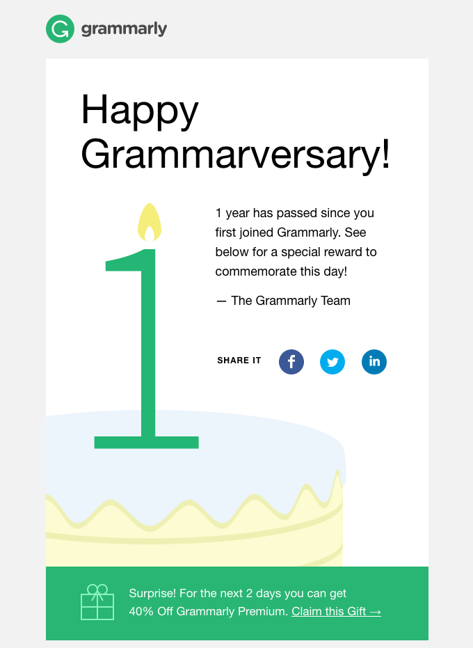Automated email by Grammarly triggered one year after a customer signs up