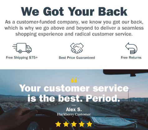 A customer review backing up claims made in Huckberry's welcome email