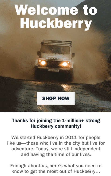 Example of a welcome email using social proof by Huckberry