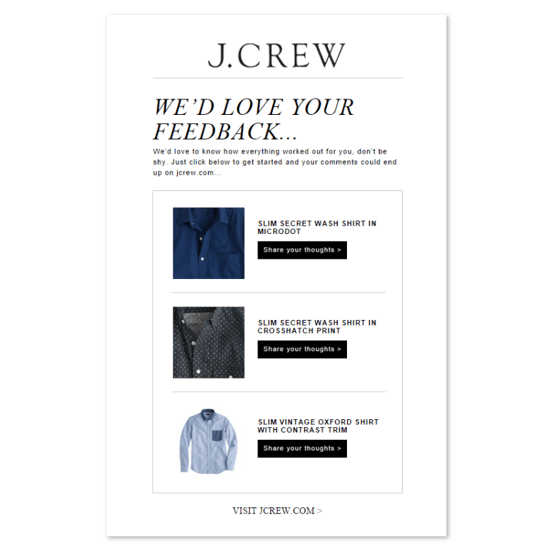 Example of using marketing automation to collect product reviews post purchases by B2C fashion brand J. Crew