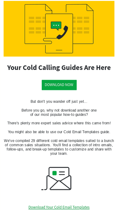 Example of a welcome email delivering subscribers resources they signed up for