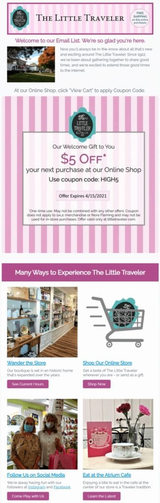 Welcome email example that includes a discount code by The Little Traveler