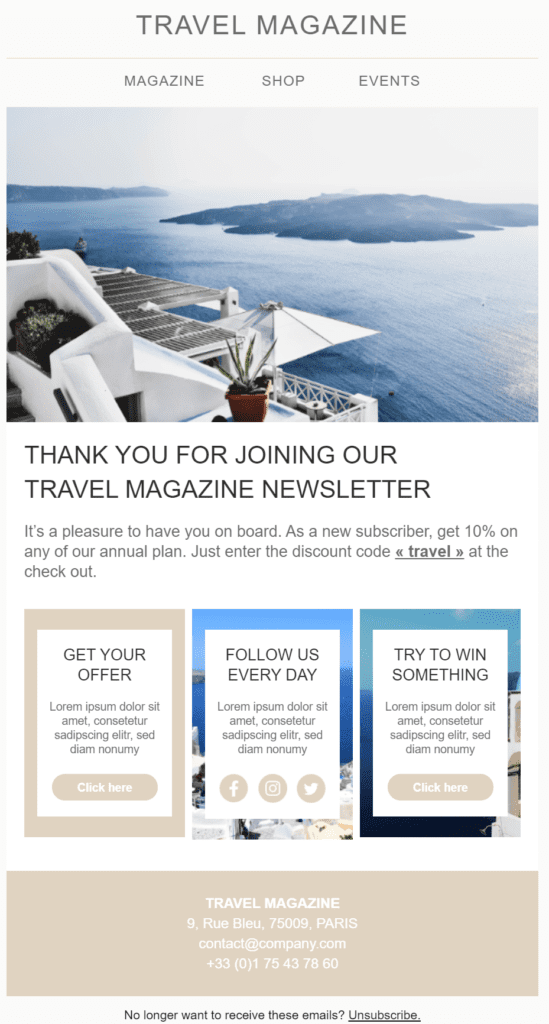 Welcome email template for new subscribers available in Sendinblue
