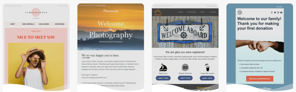 Examples of welcome email templates available in Stripo