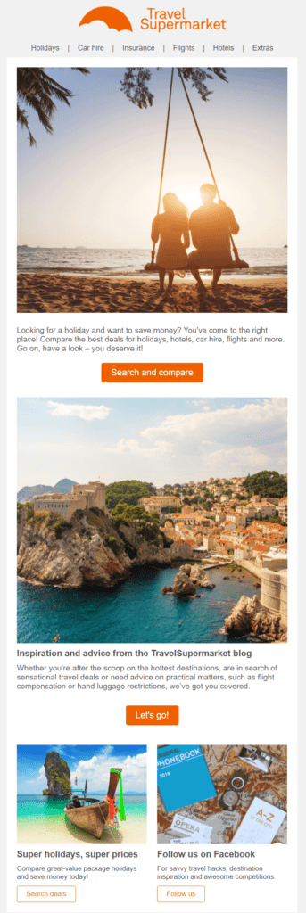 TravelSupermarket's follow-up welcome email