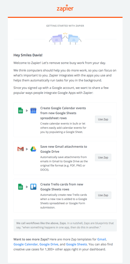 Example of a welcome email with personalized content by Zapier