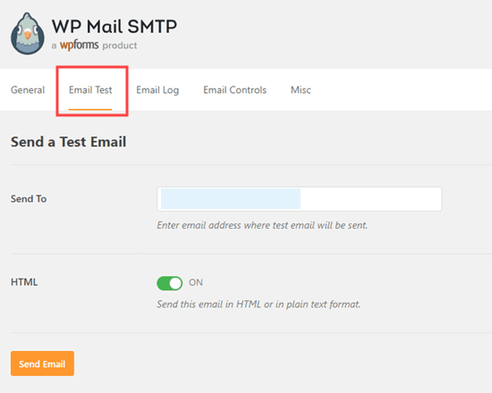 Email Test dashboard in WP Mail SMTP Plugin