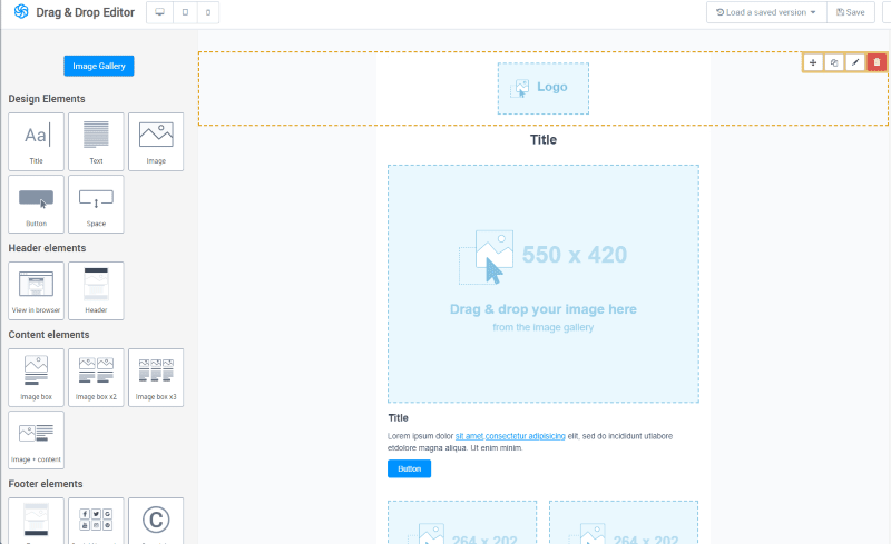 Sendinblue's drag and drop email editor tool